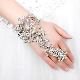 Wholesale Silver Diamond Rings Cheap - Cheap Bridal Accessories Jewelry Crystal Rhinestones Diamonds Bracelet With Ring Wristband Bracelet Wedding Bridal Party Prom