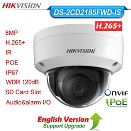 Wholesale Network Ip Camera Poe - Hikvision original english version DS-2CD2185FWD-IS 8MP IP H.265 PoE WDR IP67 card slot audio alarm network Dome Camera