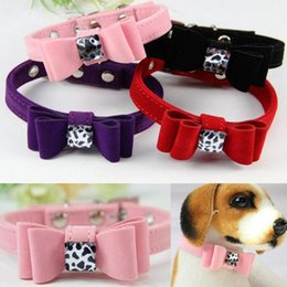 Wholesale Velvet Puppy - Fashion Soft Velvet Adjustable Necklace Collars For Dog Pet Puppy Cat Bow Cute Small To Large Dog Collar ZA4124