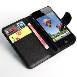 Wholesale Apple I Phone 4s - 4S Flip Wallet PU Leather Case For iPhone 4 4S Cover Vintage Luxury i Phone Bag For Apple iPhone 4S With Card Holders