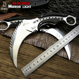 Wholesale mirror hunting - karambits Mirror light scorpion claw knife outdoor camping jungle survival battle karambit cs Fixed blade hunting knives self defense tool