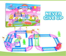 Wholesale Kids Rail Cars - electric rail car music track stair climbing toy Kids Toy for children Rail Building Block Toy Multilayer Kids Toys Model Electronic VS leg