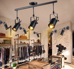 Wholesale Vintage Track Switch - Retro Loft Vintage LED Track Light Industrial Ceiling Lamp Bar Clothing Personality spotlight Light Three Heads LLFA