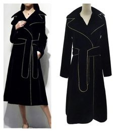Wholesale Thick Sash Belt - 2017 new women's spring autumn design fashion gold black color block sashes with belt velvet maxi long trench coat casacos SMLXL