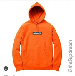 Wholesale Orange Cake Boxes - 2017 brand Sell like hot cakes brand new Vlone Box Logo Hoodie Orange Black color Hoodie SweaterXL
