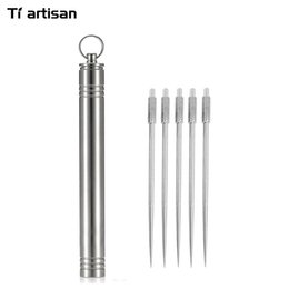 Wholesale Portable Toothpick Holder - Wholesale- Tiartisan Titanium Toothpick With Holder Keychain Eco-Friendly Ultralight Portable Keychain Titanium Toothpick and Box Case