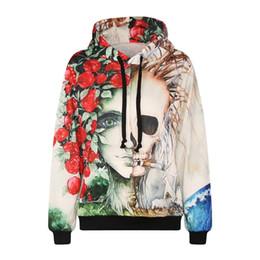 Wholesale Skeleton Hoodie Women - 3D Hoodies 2017 Women s Novelty Streetwear 3D Rose skeleton printing belt pocket Hooded hoodies free shipping