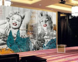 Wholesale Mural Sexy Bedroom - Wholesale Sexy Marilyn Monroe 3d Wall Photo Murals Vinyl Wallpaper for Living Room and Bedding room 3d Wall Murals Fresco
