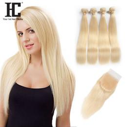 Wholesale Brazilian 613 Closure - HC Hair 613 Straight Virgin Hair 4 Bundles With Lace Closure Roots Blonde Brazilian Human Hair Weaves With Lace Frontal