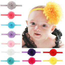Wholesale Wholesale Chiffon Frayed Flower - Chic Frayed Chiffon Flower Headband Shabby Trim For Girls Hair Accessories 2017 Babies Candy Color Hair Bands