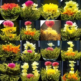 Wholesale Blooming Flowers Tea - Promotion! Individual Vacuum package 16 kinds Blooming tea Artistic Blossom Flower Tea Free Shipping