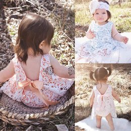 Wholesale Summer Two Piece Lace Set - 2017 Ins New Summer Baby Girl Two Piece Sets Lace Ribbon Bow Dress+Shorts Infant Clothing 0-2Y 1527