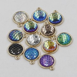 Wholesale Mermaid 18k Jewelry - 12MM Gold Base Mermaid Scale Pendant Gem Charms For DIY Handmade Necklace Bracelelt Earrings Jewelry Making Accessories