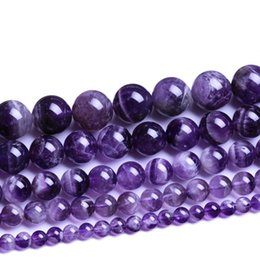 "Wholesale Crystal Chain For Jewelry Making - 3A Quality Round Purple Color Amethyst Beads Natural Stone Beads 4 6 8 10mm Strand 15"" Diy Bracelet Necklace For Jewelry Making"