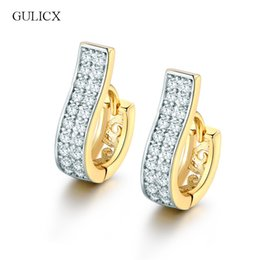 Wholesale Earing Zirconia - Wholesale- GULICX Fashion Piercing Crystal Earing Gold-color Earing White Cubic Zirconia Wedding Jewelry Hoop Earrings E105