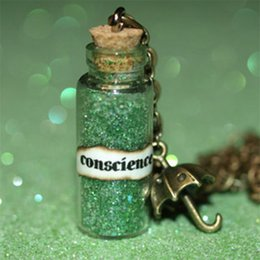 Wholesale Glasses Guide - 12pcs Jiminy Cricket Let Your Conscience Be Your Guide glass Bottle Necklace with a Umbrella Charm Inspired necklace