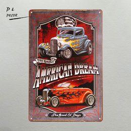 Wholesale Metal Sign Printing - Wholesale- DL- American Dream TIN SIGN Hotrod vintage Car Metal poster print Garage shabby chic Wall Decor Bar Diner home decor