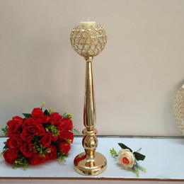 Wholesale Christmas Ball Candle Holders - Gold Candle Holder With 12 CM Crystals Ball Wedding Event or Party Candle Stand Home Decor Candlestick 1 Lot = 10 Pcs