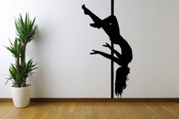 Argentina Etiqueta engomada del vinilo de la pared Room Decal Mural Design Strip Sexy Girl Pole Dance 22inx35in pegatinas vinilo Wall Art Mural cheap dancing murals decals Suministro
