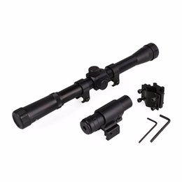Wholesale Snipers Rifle Scope - 4x20 For Air Rifle Hunting Sniper Scope Riflescope with Red Dot Laser Sight