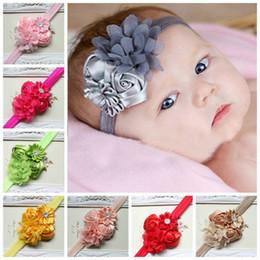 Wholesale Baby Flower Headband Diamond - Chiffon Headbands for Baby Ribbon Diamond Polygon Flower Rose NewBorn Photography Hair Combination Baby Strap Headbands