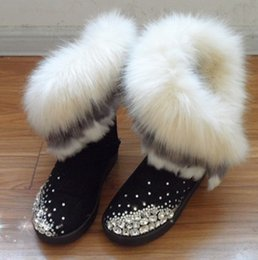 Wholesale Genuine Leather Fox Fur - Free shipping 2017 new Australian handmade diamond gem women's cotton shoes in the tube fox fur tassel snow boots