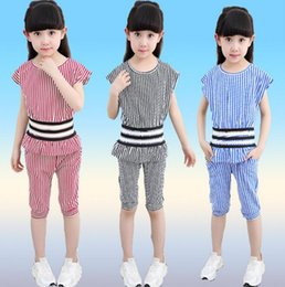Wholesale Pant Shirts For Girls - Kids Clothes summer girl stripe clothing T shirt + shorts pants 2pcs sets defined waist top kids outfit for 4~16Y