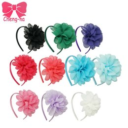 Wholesale Flowers Alice - Wholesale- High Quality Chiffon Flower Hairband Headband Alice Band For Kids Girls Children Hair Accessories 10 pieces lot ZH10-1404161