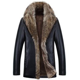 Wholesale Male Leather Wool Clothing - Men Leather Jackets Natural Raccoon Fur Cashmere Coats Snow Wear Brand Clothing Thick Warm Outwear Faux Fur Clothes Male 4XL 5XL