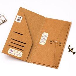 2019 mini livro de anotações bonito Venda por atacado - Pasta De Arquivo De Suporte De Cartão De Visita De Papel Kraft Notebook Traveler Preencher Pasta De Arquivo