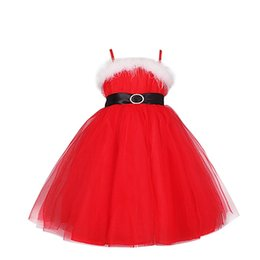 Wholesale Girls Pageant Costumes - Red Xmas Dress Kids Girls Christmas Santa Claus Braces Tulle Tutu Dress Costume Wedding Party Pageant Formal Princess 2-8Y