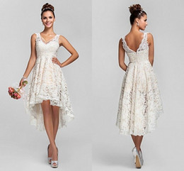 Wholesale Short Vintage Lace Wedding Dresses - Simple Short Lace Beach Wedding Dresses 2017 V Neck High Low Sleeves Backless Bridal Gowns New Arrival