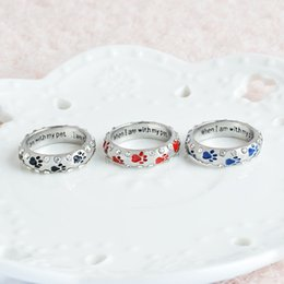 Wholesale Dog Ring Jewelry - Crystal Rings When I Am with My Pet Letter Black Red Enamel Dog paw footprints Finger Ring Nail Ring for Women Jewelry Drop Ship 080157