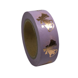 Wholesale Decorative Sticky Tape - Wholesale- 2016 Purple Foil Washi Tape Cute Decorative Cinta Adhesiva Decorativa Japanese Stationery Sticky Tape DIY Tape Planner