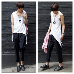 Wholesale thin modal tops - Wholesale- Male summer plus size Swallowtail vest and long sections Slim tops men O-neck hedging thin soft cotton Non-mainstream tees D12