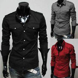 Wholesale Man Shirts Double Pockets - Wholesale- Men Shirt Long Sleeve 2017 Brand Shirts Men Casual Male Slim Fit Double Pocket Decoration Chemise Mens Camisas Dress Shirts 4XL
