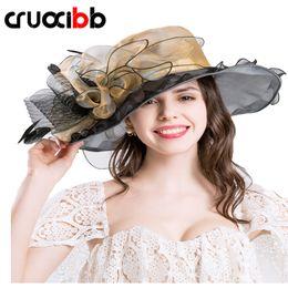 Wholesale Wedding Dress Elegant Hat - 2017 Fashion Summer Women's Design Flower Yarn Hat Summer For Women Kentucky Derby Caps Brim Wedding Dress Church Hats Elegant Ladies Party