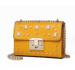 Wholesale Gold Serpentine Chain - Leather color rivet small bread knitting wide shoulder straps aslant portable drill lock handbag cowhide high quality Leisure mini box bag
