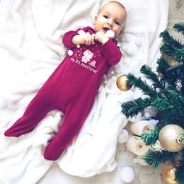 Wholesale Snowflake Clothing Baby - Christmas INS Baby rompers Newborn printed velvet bears letters jumpsuit Infants snowflake long sleeve rompers Toddler kids clothing C2028