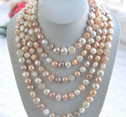 """Wholesale Long Baroque Freshwater Pearl Necklace - Rare Long 80"""" 10-12mm AAA white pink Purple baroque freshwater pearl necklace"""