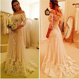 Wholesale Best Plus Gowns - Gorgeous Off Shoulder 3 4 Long Sleeves 2017 Lace A Line Wedding Dresses Plus Size Custom Made Appliques Princess Bridal Gowns Best Sale