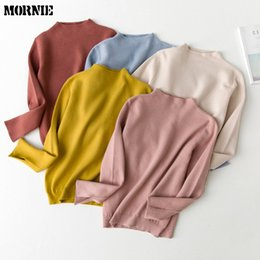 Wholesale Korean Women Clothing Sweater - Wholesale-MORNIE 2016 New Fall Winter Women Thicken Warm Pullover Sweater Female Korean Style Solid O-Neck Gray Yellow Knitted Clothing