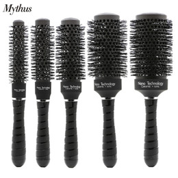 Wholesale Comb For Salon - Variable Color Roll Comb Black Ceramic Aluminum Barrel Brush Round Rolling Hair Brush Set For Professional Salon Styling Curling