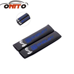 Wholesale mustang covers - Hot Auto blets 2pcs Car Seat Safety Belt Cover Belts Padding Cover For shelby logo for Ford Shelby Mustang DXY Car Emblem