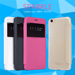 Wholesale Original Nillkin Leather Case - For BBK Vivo V5   For Vivo Y67 Phone Case Original Nillkin Sparkle Wallet Leather Case+Hard Back Cover View Window Flip Case