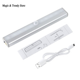 Wholesale Led Lamp Recharge - Wholesale- 10 LED IR Infrared Motion Detector Wireless Sensor Lighting Closet Night USB Battery Recharging Lamp Cabinet Wardrobe Light