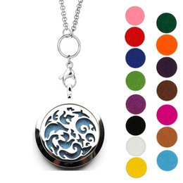 "Wholesale Hypoallergenic Pendant Necklace - Livaé Hypoallergenic Stainless Steel Aromatherapy Essential Oil Diffuser Necklace with 28"" chain and 15pcs different color pads"