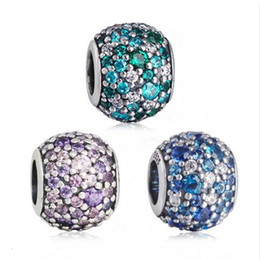 Wholesale Sterling Silver Ocean - Pave 925 Sterling Silver Ocean Mosaic Ball Bead Charm With Crystal For Jewelry Making Fit Original Bracelet