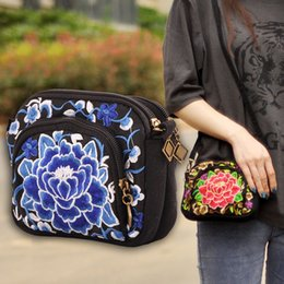 Wholesale Ethnic Crosses - Hot sale national bags shoulder bag Embroidered Bag Lady cross body bags Ethnic National flap bags China style Vintage Purse XN-93109