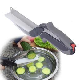 Inteligente cortador 2 en 1 tijeras de cocina de acero inoxidable con cuchillo afilado Cuchilla de corte Tabla de corte Cortador de alimentos para carne vegetal desde fabricantes